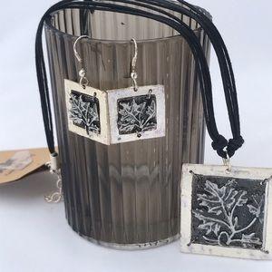 NWT ANJU Handcrafted leaf jewelry set